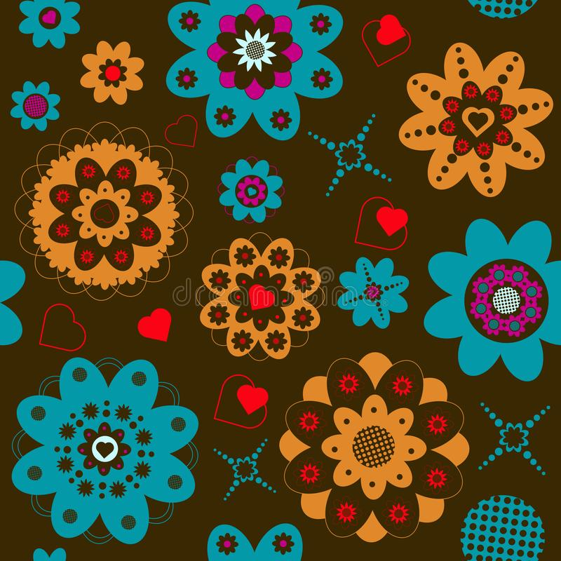 Colorful seamless pattern with flowers royalty free illustration