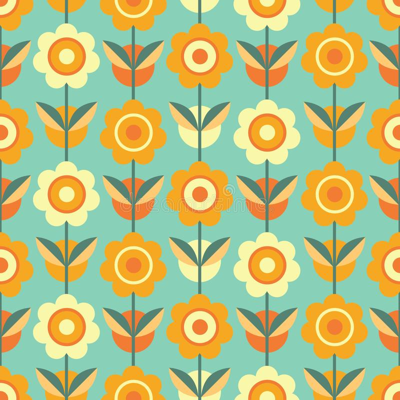 Colorful seamless pattern with flowers. Decorative wallpaper, good for printing. Hand drawn overlapping background, texture, decor elements and shapes. Design royalty free illustration