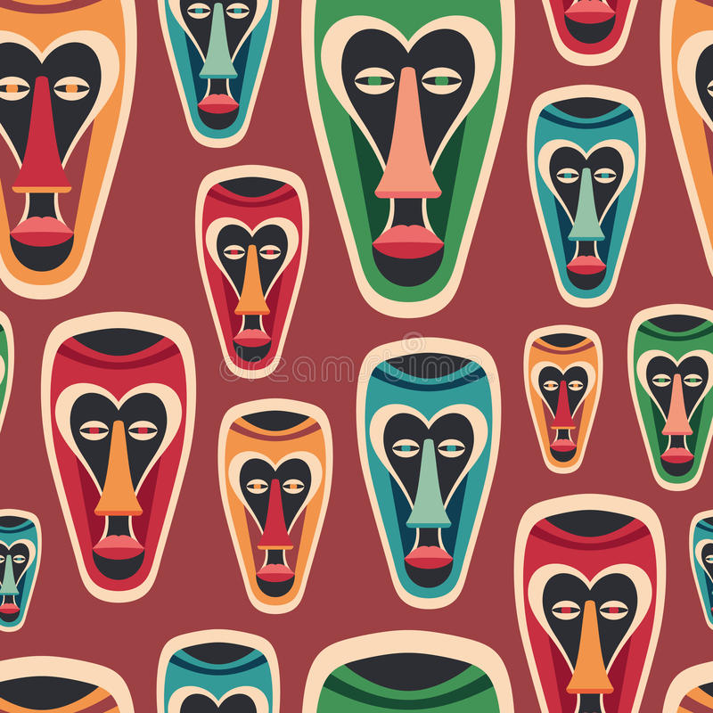 Colorful seamless pattern with funny carnival masks. stock illustration