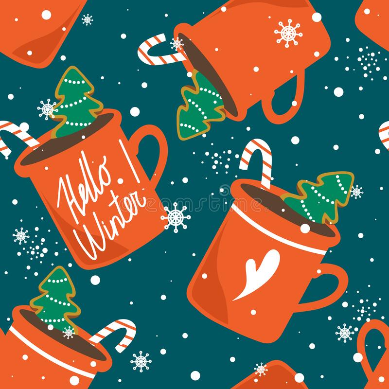 Free Colorful Seamless Pattern, Gingerbreads, Biscuits, Cups Of Cocoa, Candy Canes. Happy New Year Royalty Free Stock Image - 196340476