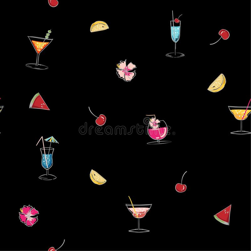 Colorful of Seamless pattern glass of mojito, Long Island Ice Te. A, Dry Martini, ice cubes, and lime outline. Black outline of the cocktail on a black royalty free illustration
