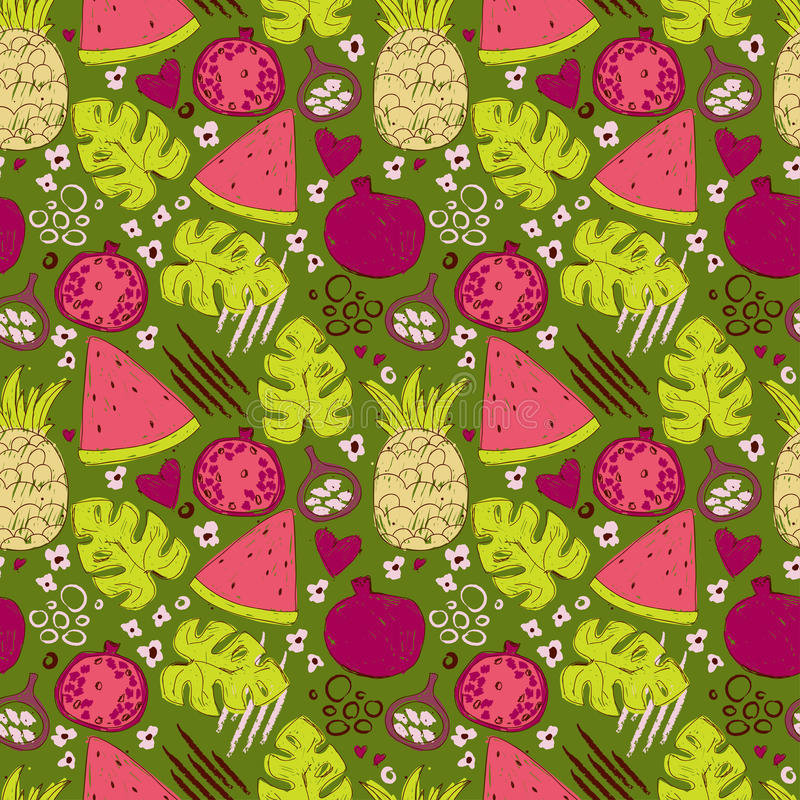 Colorful seamless pattern with hand drawn exotic fruits royalty free illustration