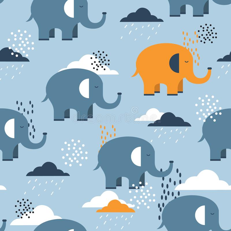 Colorful seamless pattern with happy elephants, clouds. Cute background stock illustration