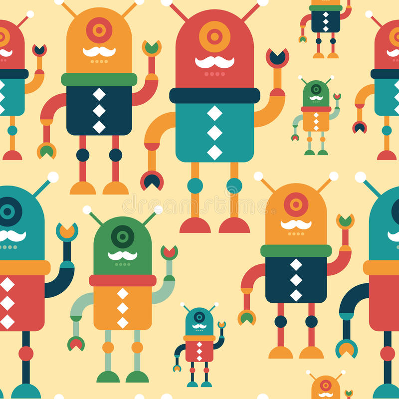 Colorful seamless pattern with happy hipster robots. Intelligent robots. Colorful seamless pattern. Set 2 vector illustration