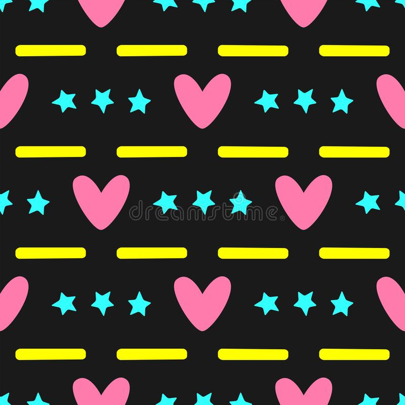 Colorful seamless pattern with hearts, stars and stripes. Stylish colour girl print. Black, yellow, pink, turquoise. Colorful seamless pattern with hearts royalty free illustration