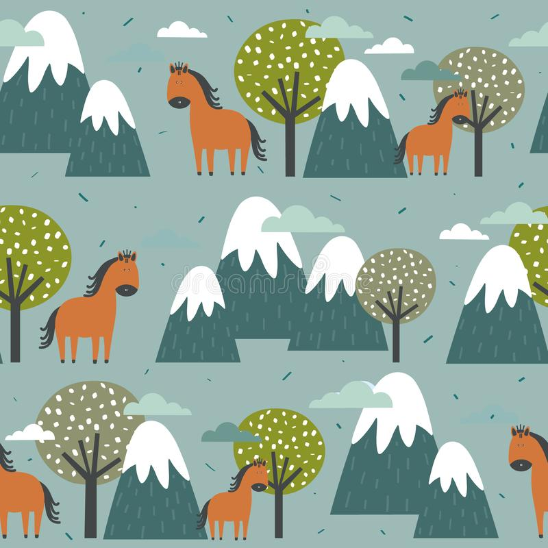 Colorful seamless pattern, horses, mountains and trees. Decorative cute background with animals, forest. Seamless pattern, horses, mountains and trees, hand stock illustration