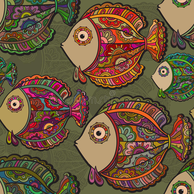 Colorful seamless pattern of a lot of beautiful decorative fishe. Colorful seamless pattern of a lot of beautiful decorative ornamental fishes royalty free illustration