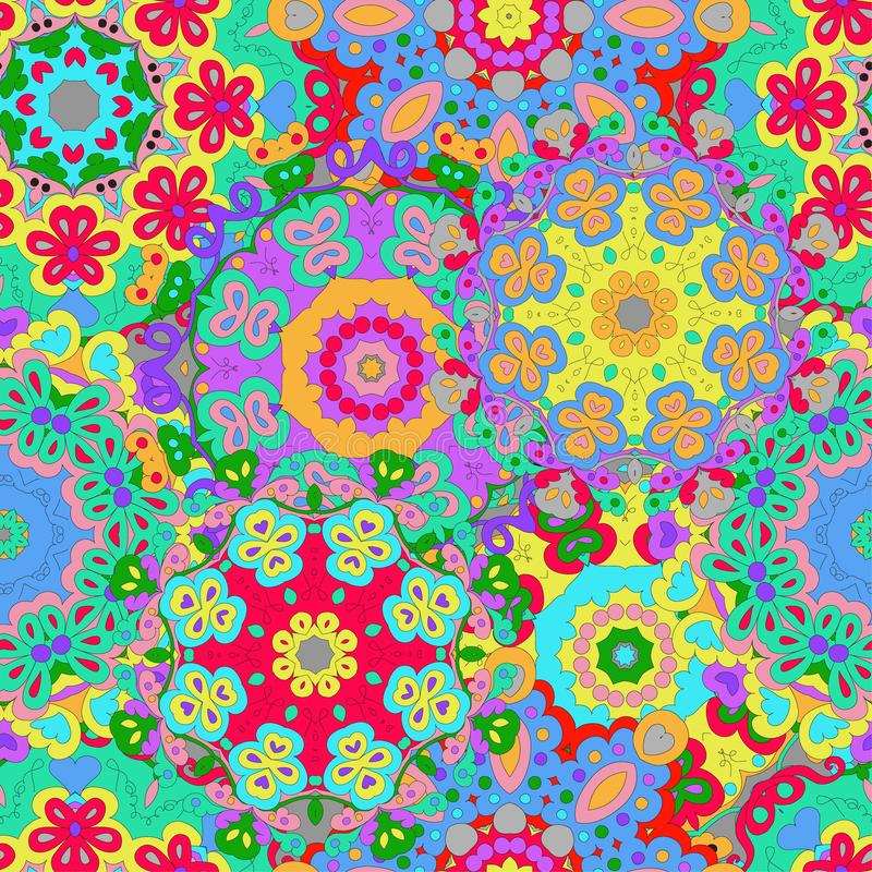 Colorful seamless pattern mandala, can be used for wallpaper, pattern fills, web page background stock illustration