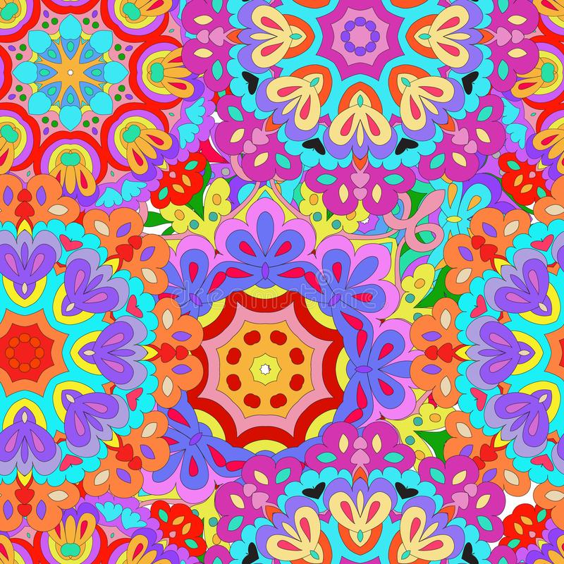 Colorful seamless pattern mandala, can be used for wallpaper, pattern fills, web page background, surface textures. royalty free illustration