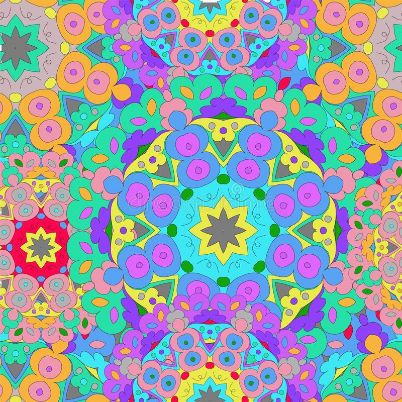 Colorful seamless pattern mandala, can be used for wallpaper, pattern fills, web page background, surface textures vector illustration