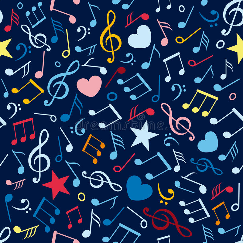 Colorful Seamless Pattern With Music Notes Royalty Free Stock Images