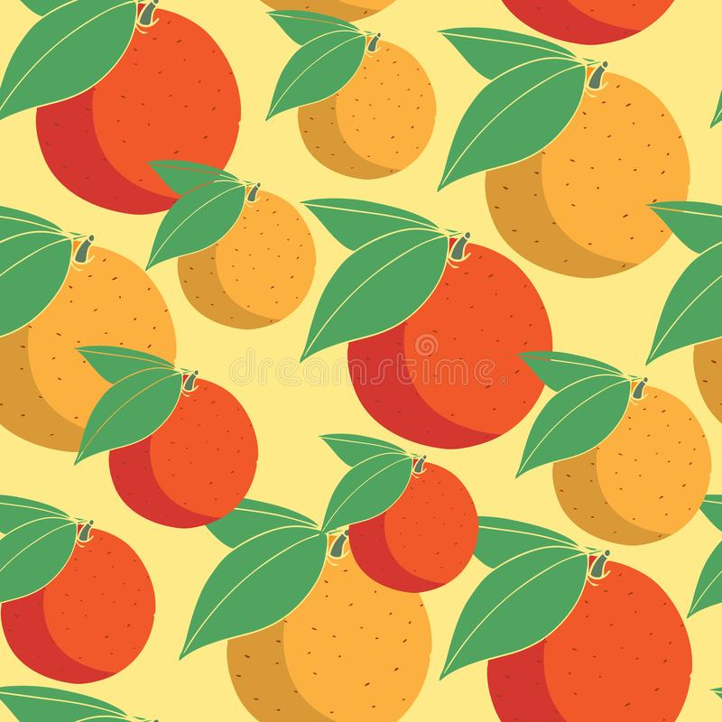 Colorful seamless pattern with orange fruit on a yellow background for textile, wrapping paper and wallpaper. Seamless pattern with citrus fruits stock illustration