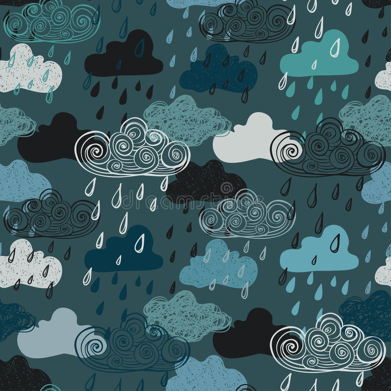 Colorful Seamless Pattern Of Rain Clouds. vector illustration