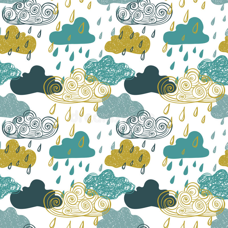 Colorful Seamless Pattern Of Rain Clouds. stock illustration