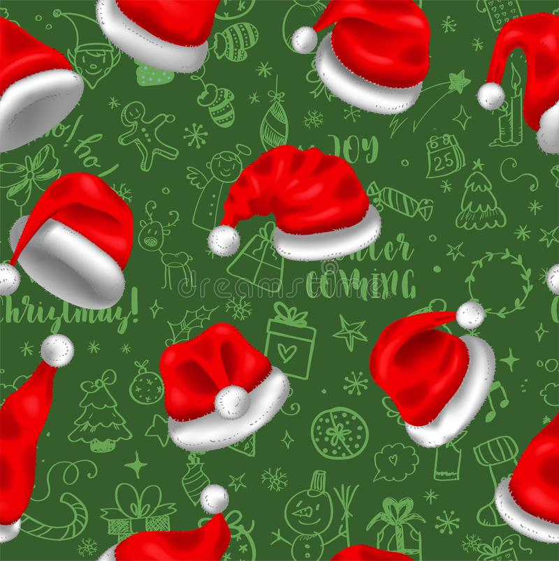 Colorful seamless pattern with red santa hats on green background with doodles, for your christmas design vector illustration
