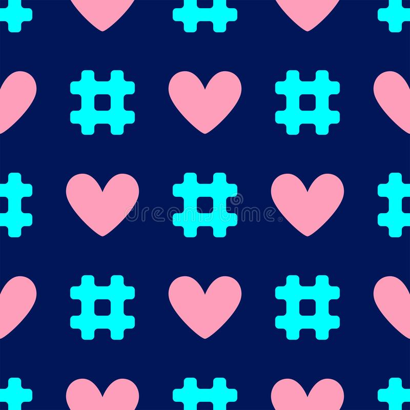 Colorful seamless pattern with repeating hashtags and hearts. vector illustration