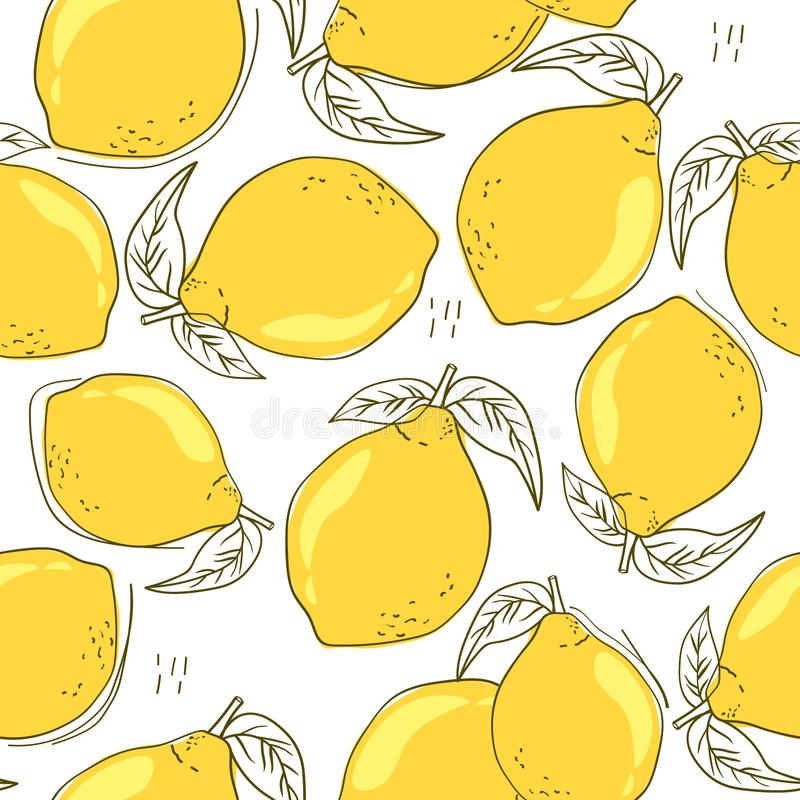 Colorful seamless pattern with ripe lemons, leaves. Decorative background with citrus fruits. Fresh lemons, background. Hand drawn overlapping backdrop. Colorful stock illustration