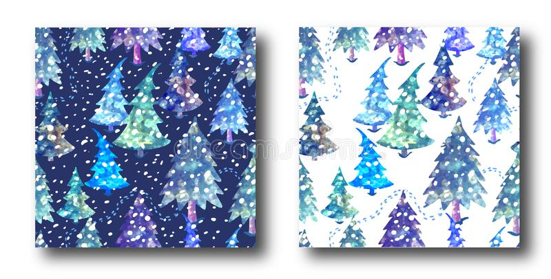 Colorful seamless pattern set with Christmas tree royalty free illustration