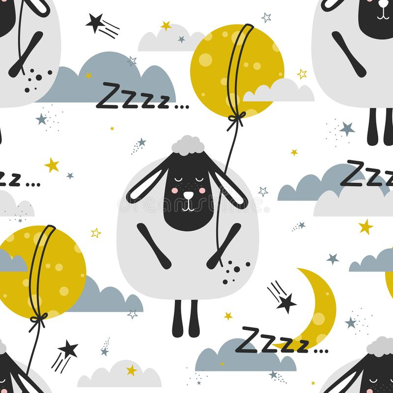 Colorful seamless pattern with sleeping sheeps, moon, stars. Decorative cute background with animals stock illustration