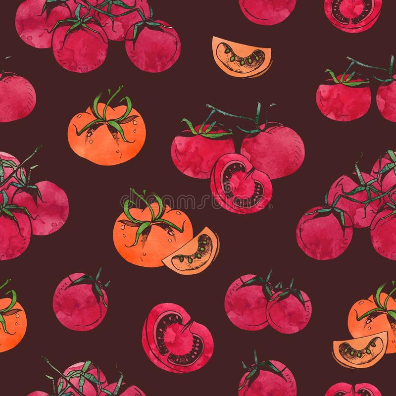 Colorful seamless pattern with sliced and whole red tomatoes on branch on dark background. Backdrop with hand drawn. Fresh ripe vegetables. Vector illustration stock illustration