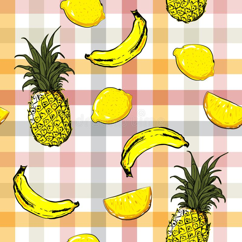 Colorful seamless pattern summer mood beautiful exotic fruits vector pattern with bright check or grid stock illustration