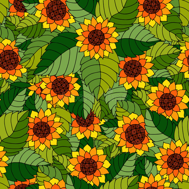 Download Colorful Seamless Pattern With Sunflowers And Leaves In Gypsy St Stock Illustration