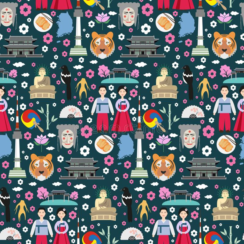 Colorful seamless pattern with symbols of South Korea. vector illustration