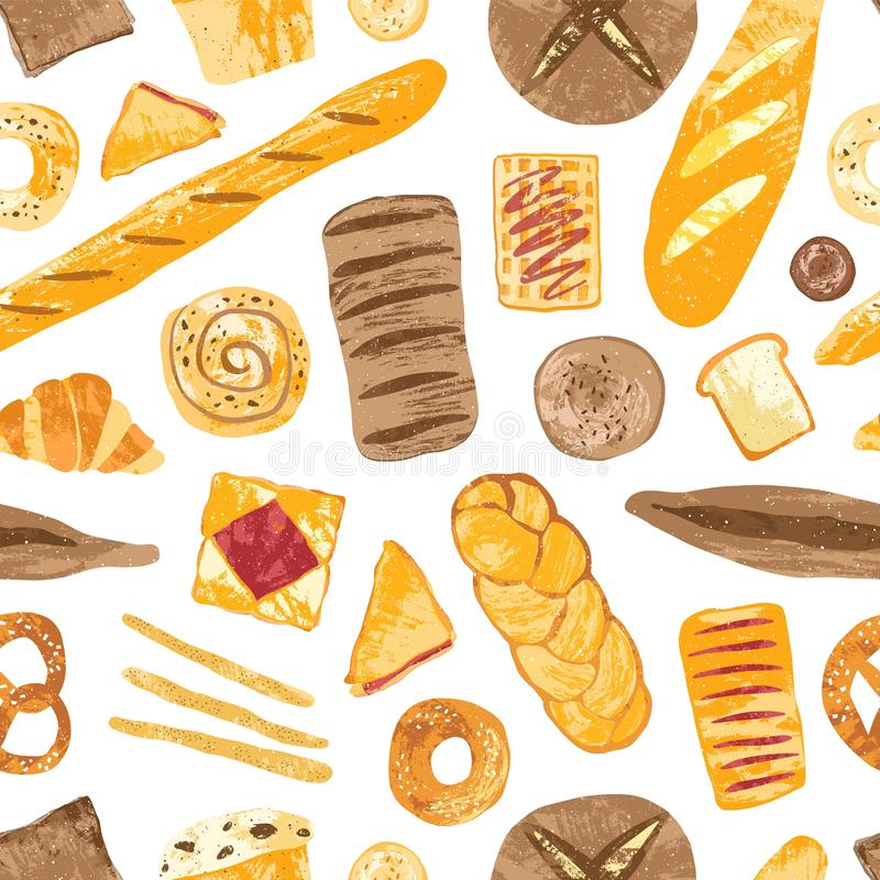 Colorful seamless pattern with tasty homemade baked breads, buns, baguettes, bagels, croissants, pretzels, toasts and. Wafers on white background. Vector stock illustration
