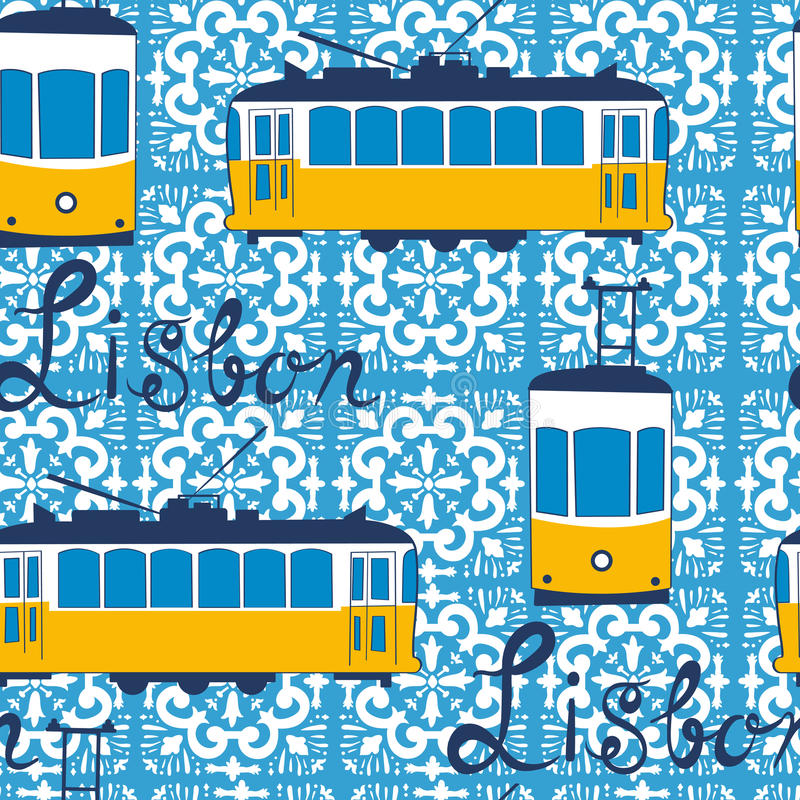 Colorful seamless pattern with tipical Lisbon tram vector illustration