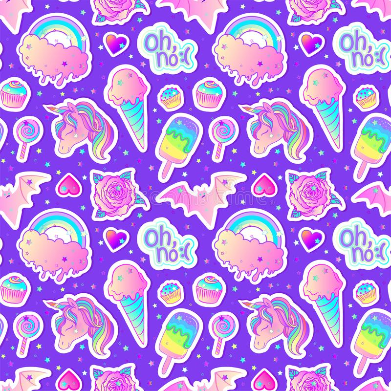 Colorful seamless pattern: unicorn, sweets, rainbow, ice cream, lollipop, cupcake, rose, bat. Vector illustration. Stickers, pins royalty free illustration