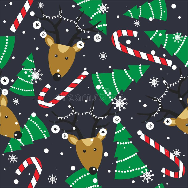 Free Colorful Seamless Pattern With Deers, Fir Trees, Candy Canes, Snow. Decorative Cute Background With Animals. Happy New Year Stock Photography - 159898652
