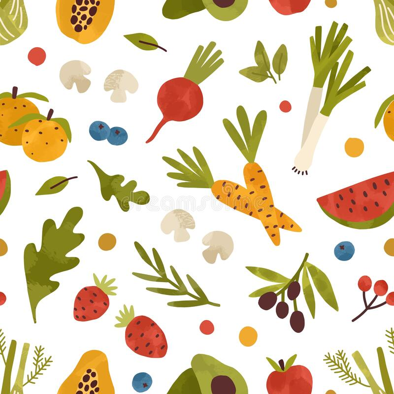Free Colorful Seamless Pattern With Healthy Fruits, Vegetables, Berries And Greens. Endless Background With Organic Stock Photo - 201384680