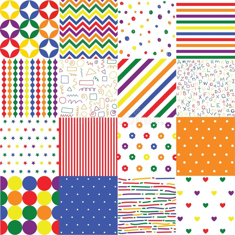 Colorful seamless patterns for baby style stock illustration