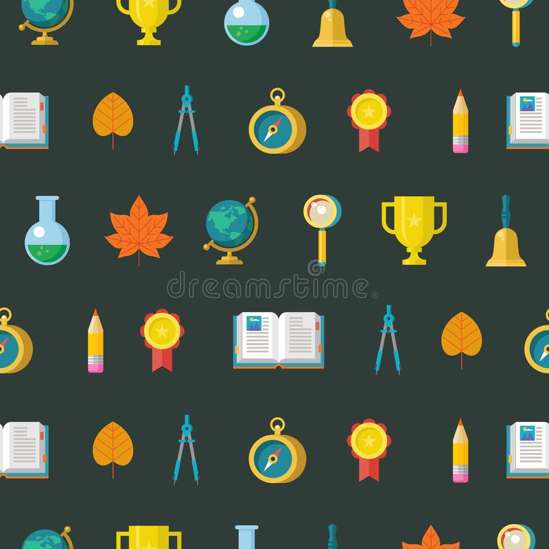 Colorful seamless patterns on the theme of education, school, au stock illustration