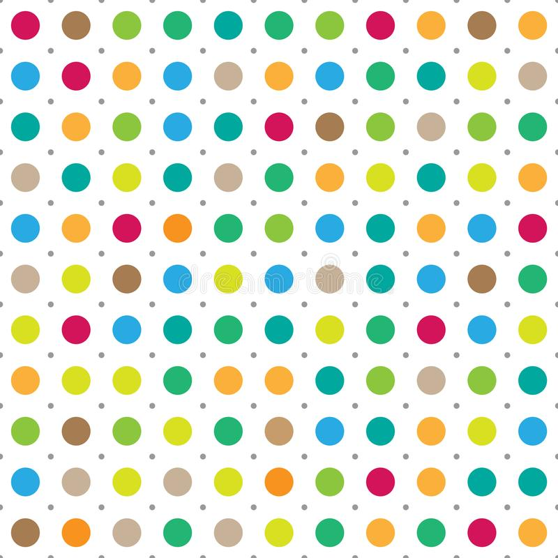 Colorful seamless polka dots vector background. Rainbow color big circles with dots stock illustration
