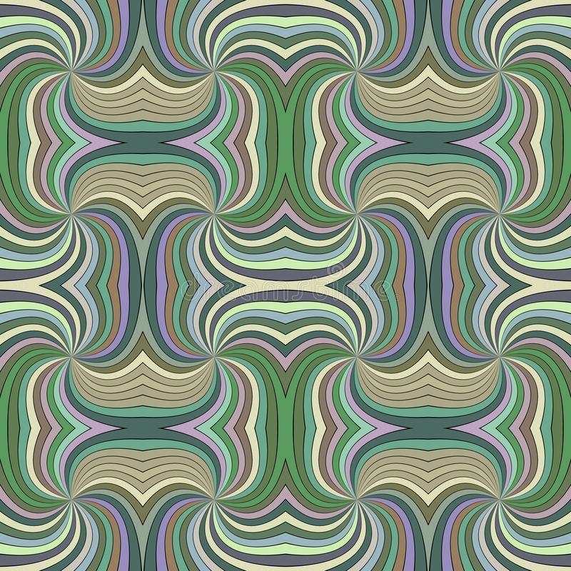 Colorful seamless psychedelic abstract spiral ray stripe pattern background. Vector design stock illustration