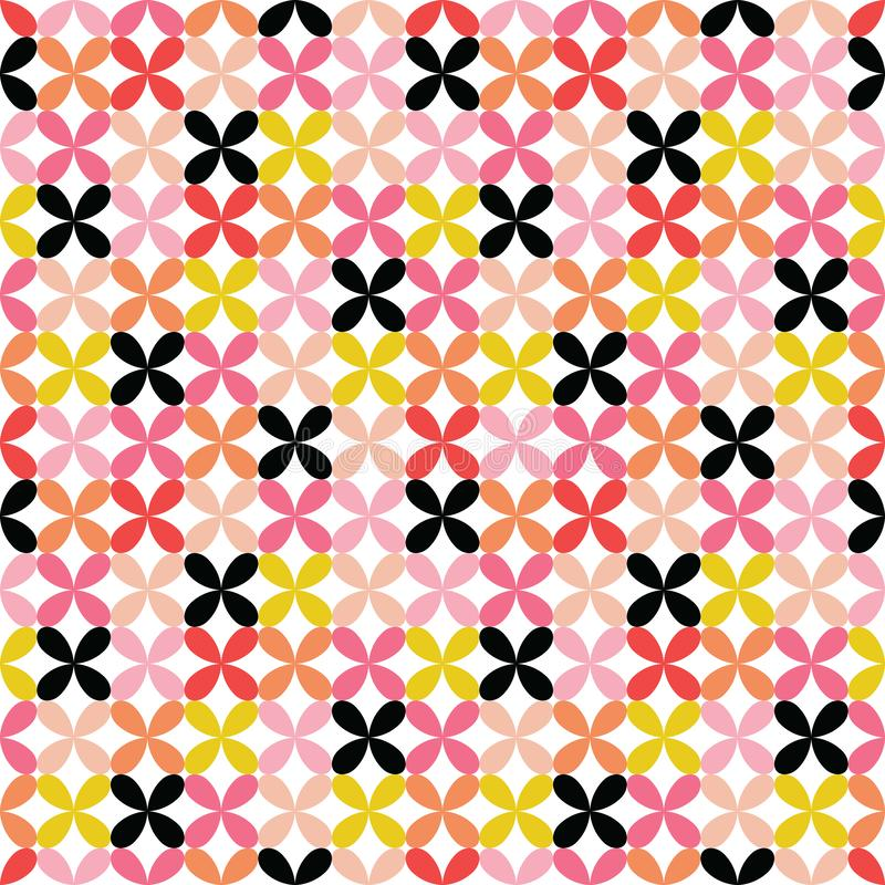 Colorful seamless retro geometric motifs background - pink red vector illustration