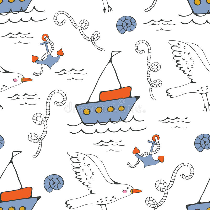 Colorful seamless sea pattern with seagulls anchors and boats vector illustration