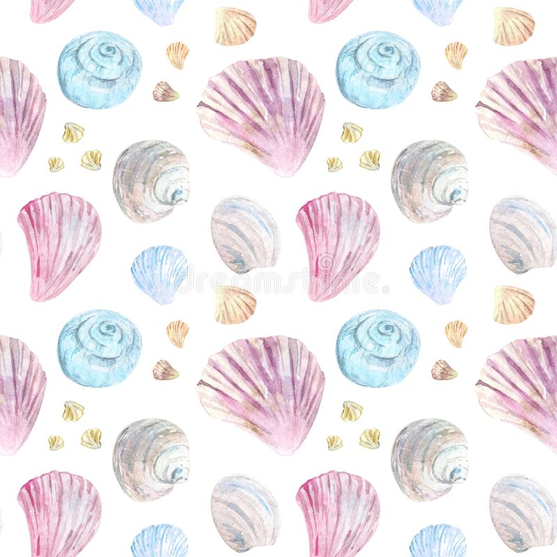 Colorful seamless shell pattern stock illustration