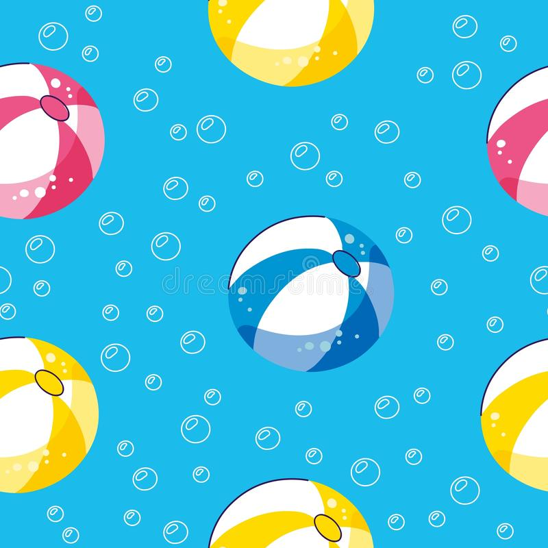 Colorful seamless summer pattern with hand drawn beach elements. Summer pool floating with balls. Seamless pattern stock illustration