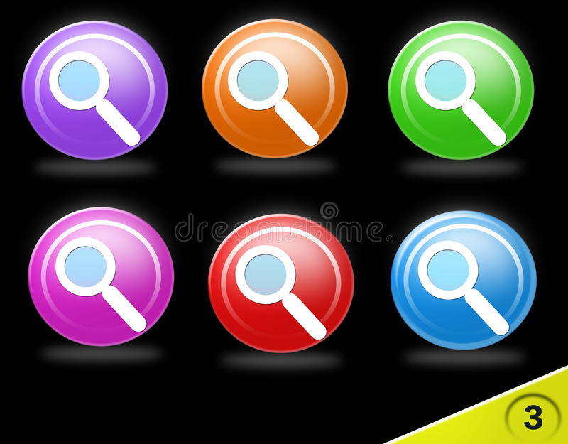 Colorful search icon set vector illustration