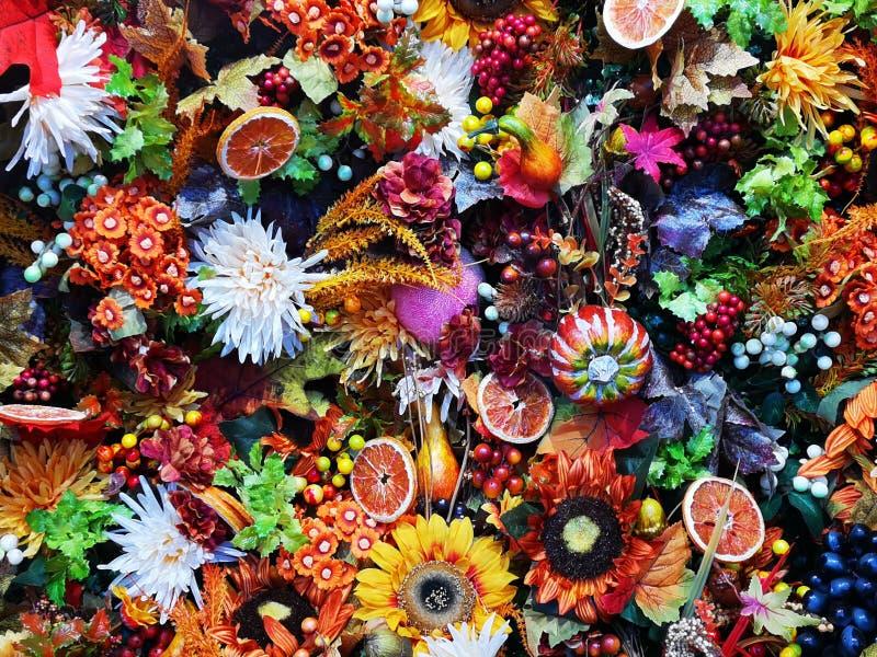 Colorful seasonal flowers - decorative arrangement. Colorful seasonal flowers and slices of dried oranges- decorative arrangement stock photo