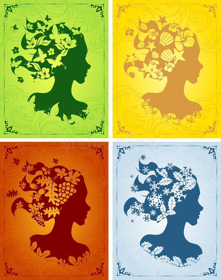 Download Colorful Seasonal Women's Profiles Stock Vector - Image: 19516414