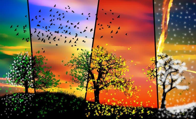Colorful Seasons Spring Summer Autumn Winter Stock ...