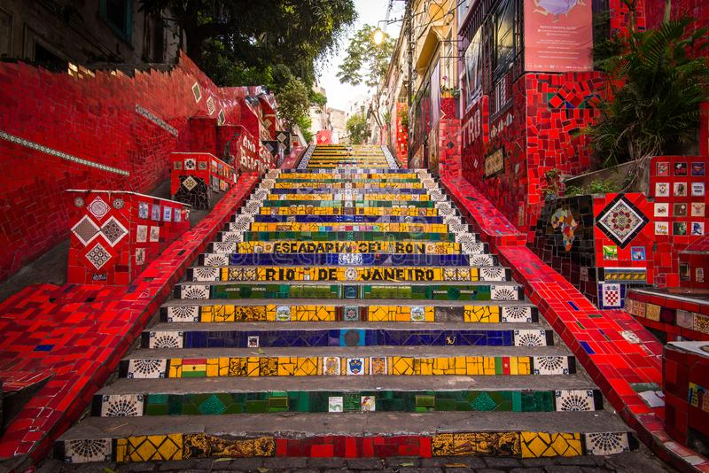 Colorful Selaron Stairs in Rio de Janeiro Center royalty free stock photography