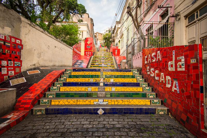 Colorful Selaron Stairs in Rio de Janeiro Center royalty free stock images