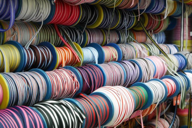 Colorful selections of ribbon on sale at Sampeng Market in Bangkok royalty free stock photos