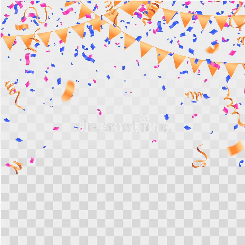 Colorful serpentine and confetti isolated on background. Vector illustration stock illustration