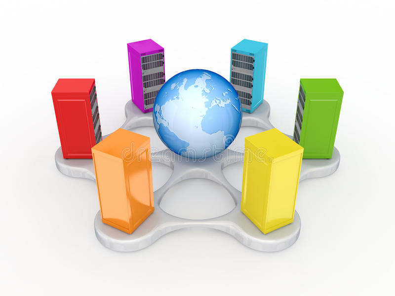 Download Colorful Servers Around Globe. Stock Illustration - Illustration: 23277589