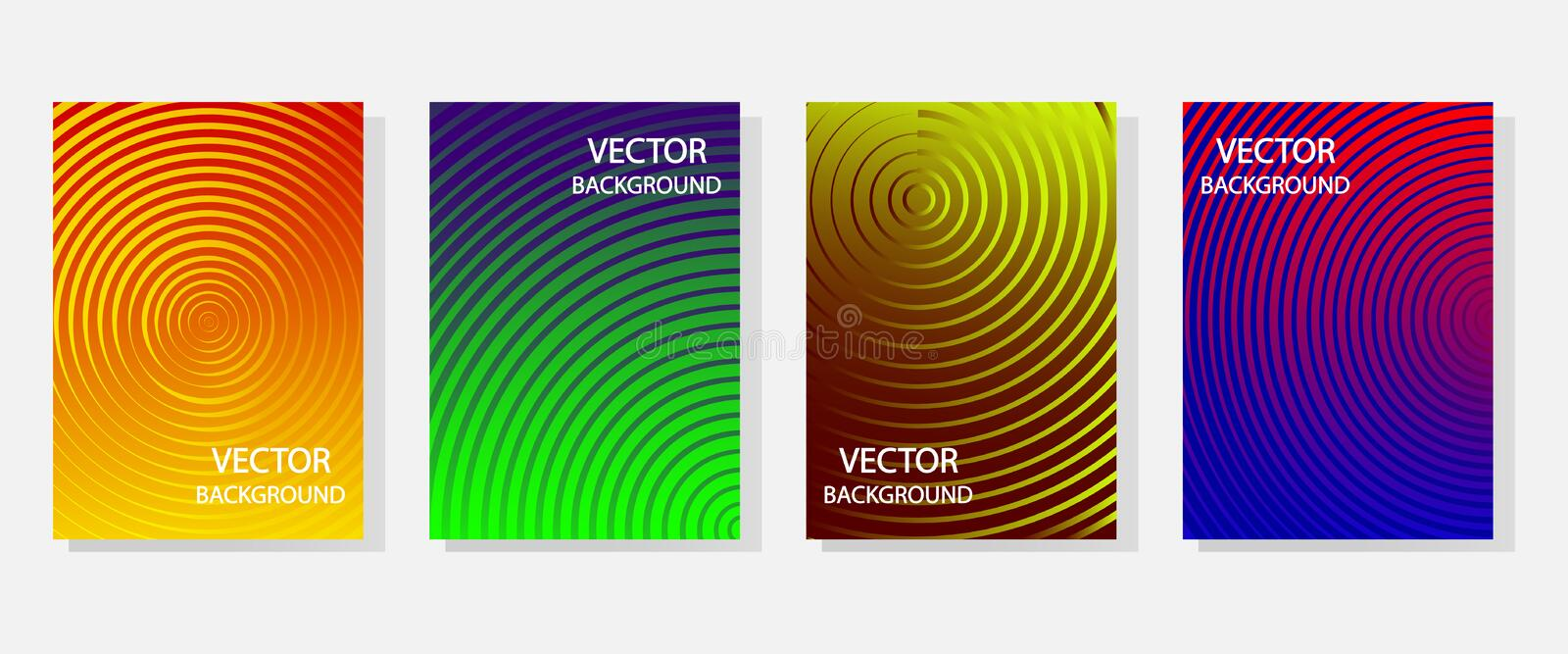 Colorful set of abstract dynamic modern bright banners with different texture, template cover design. Space for your text with stock images